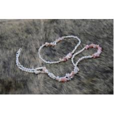Feerie roz-pudră - Set brățară și colier opal roz